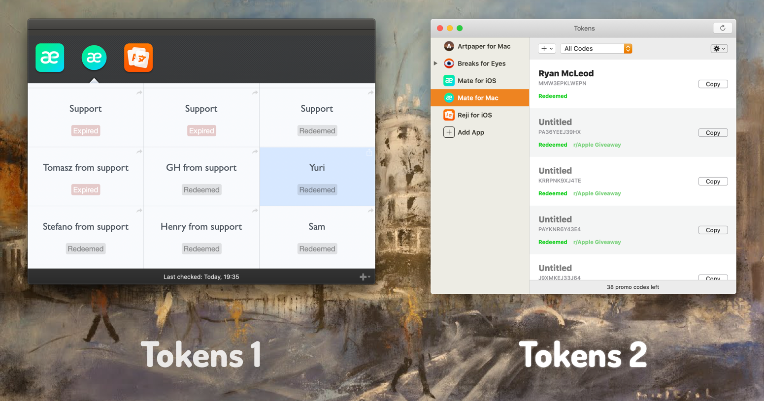 Tokens 1 side by side with Tokens 2.